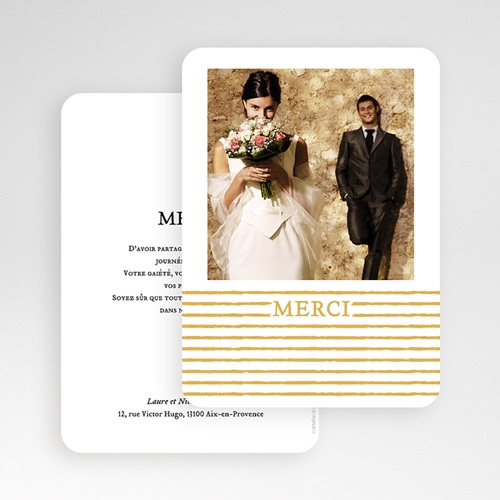 Carte Remerciement Mariage Chic Rayures dorées gratuit