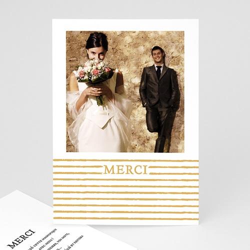 Remerciement mariage photo - Rayures dorées 55644