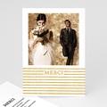 Carte Remerciement Mariage Photo Rayures dorées
