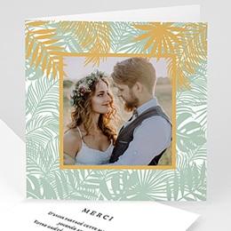 Carte remerciement mariage chic Merci tropical