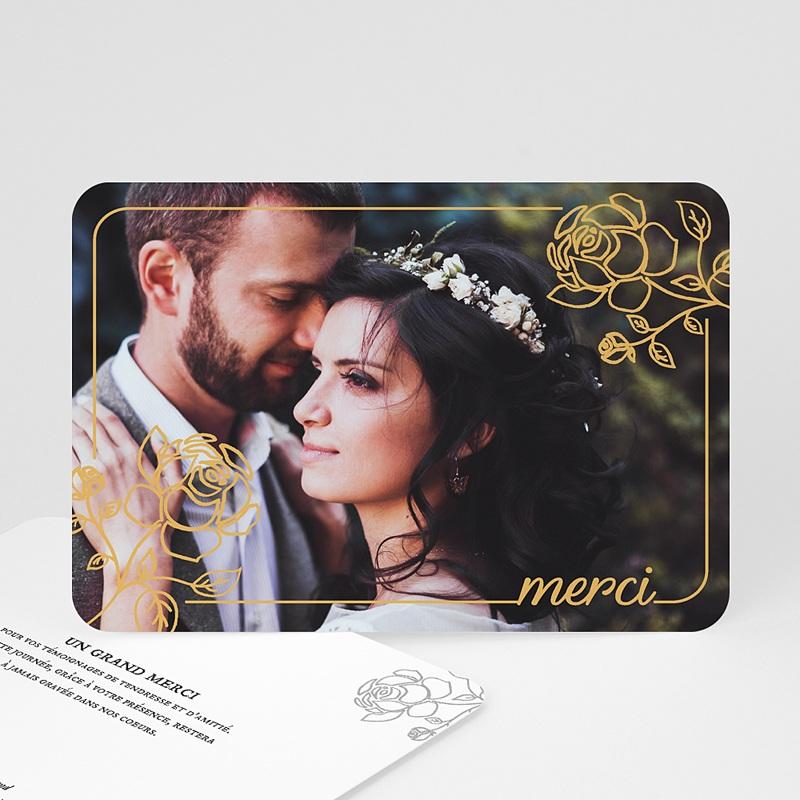Carte remerciement mariage classique Roses dorées