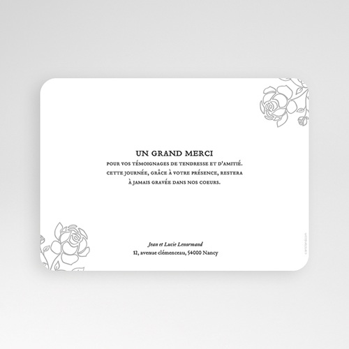 Carte remerciement mariage classique Roses dorées pas cher