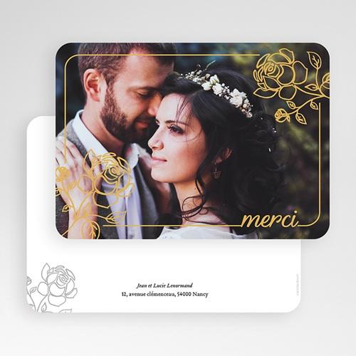 Carte Remerciement Mariage Classique Roses dorées gratuit