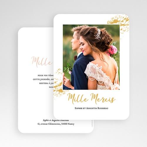 Carte remerciement mariage chic Doux bonheur gratuit