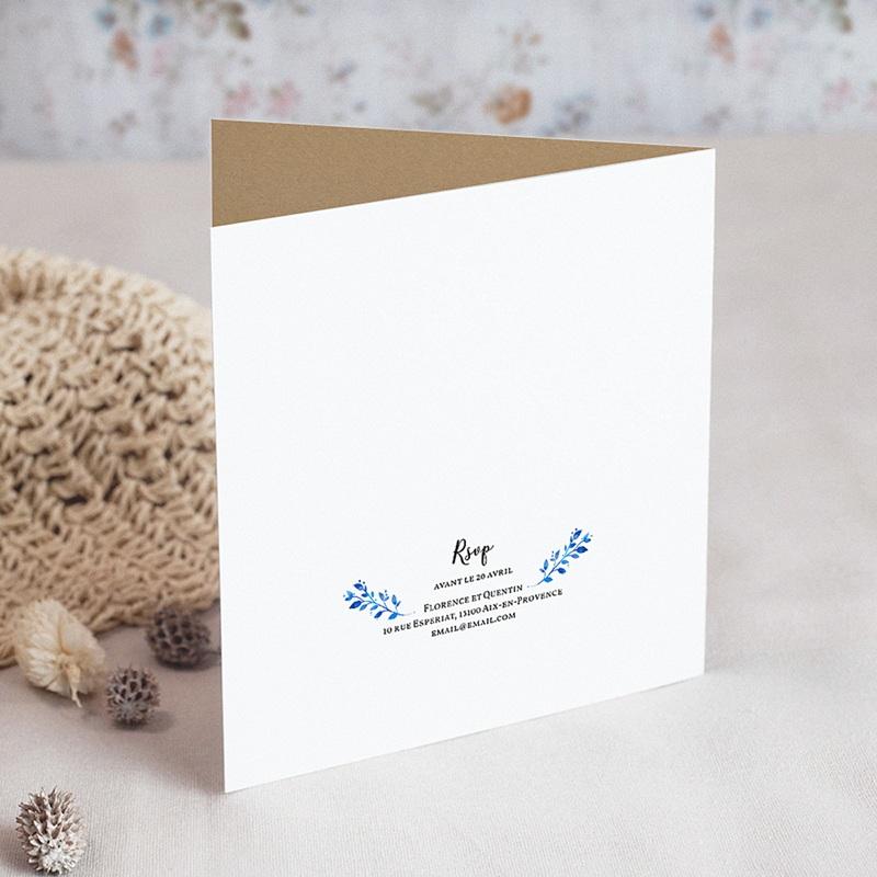 Faire-Part Mariage Champêtre Bleu d'été gratuit