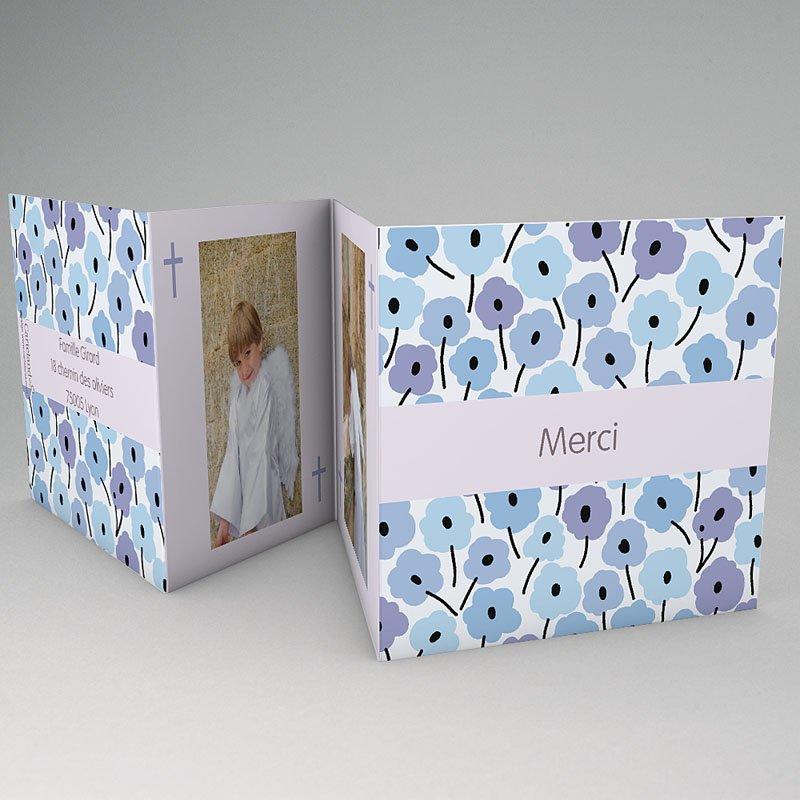Carte Remerciement Communion Fille Fleurs bleues
