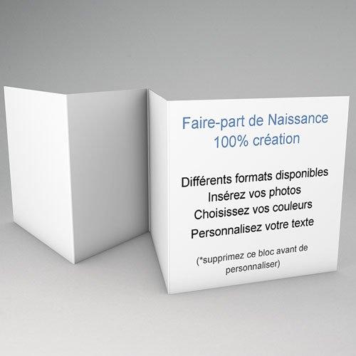 Faire-Part Naissance Vierge - accordéon 10.4 cm x 9.9 cm à personnaliser 56152 preview