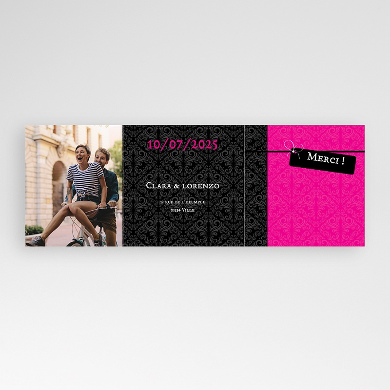 Carte Remerciement Pacs Save-the-date - Rose Flashy