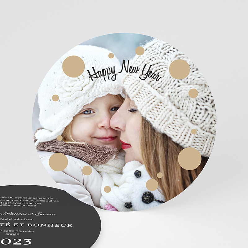 Carte de Voeux ronde Happy New Year Bling Bling