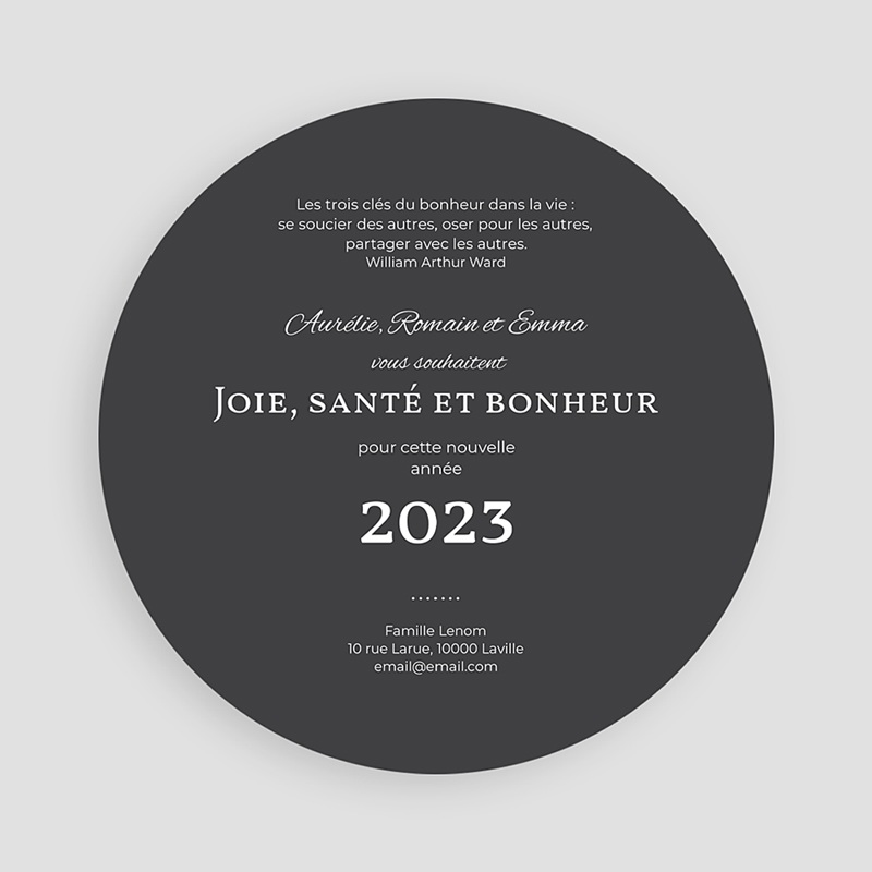 Carte de Voeux ronde Happy New Year Bling Bling pas cher