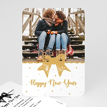 Carte de voeux Happy New Year Noeud Doré personnalisable