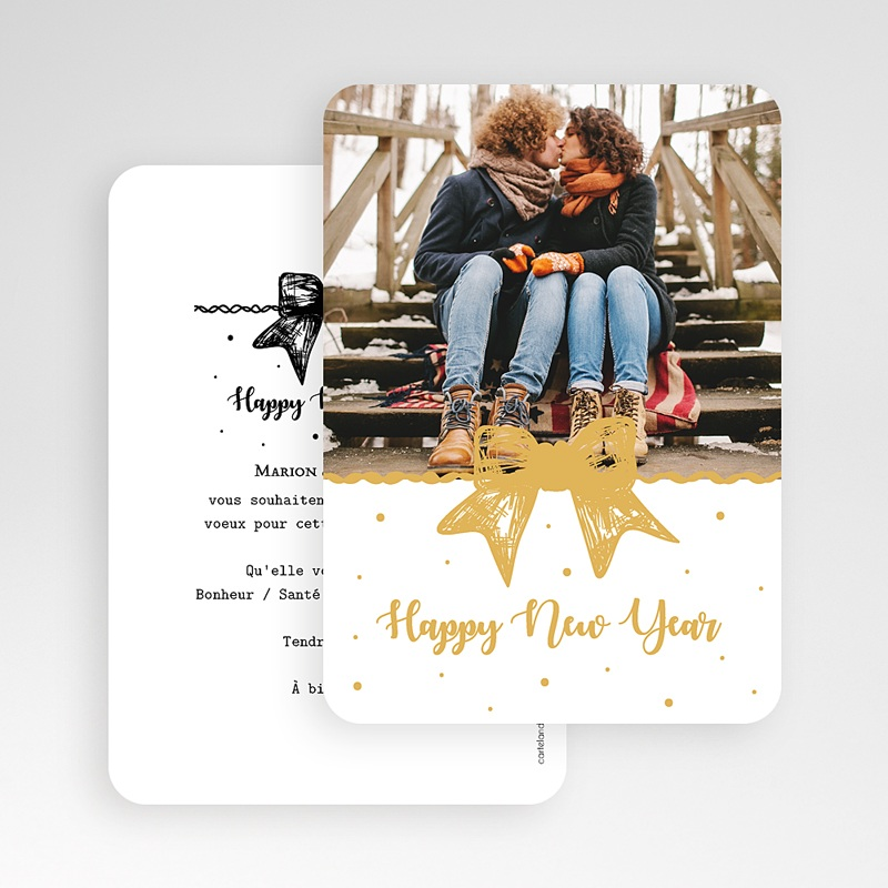 Carte de Voeux Happy New Year Noeud Doré gratuit