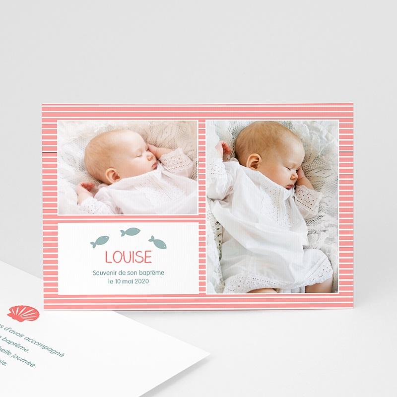 Carte Remerciement Baptême Fille Marinière rose rayée