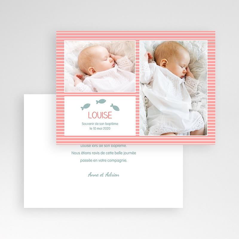 Carte Remerciement Baptême Fille Marinière rose rayée pas cher
