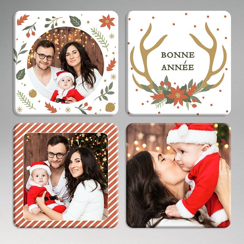 Dessous de Verre Personnalisé Photo Sous-Bocks Noël (lot de 4)