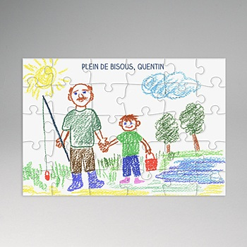 Puzzle rectangle - Dessin pour Papy - 0