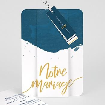 Faire Part Mariage creatif - L'or bleu - 0