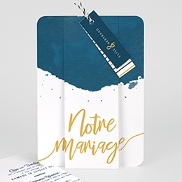 Faire Part Mariage creatif L'or bleu