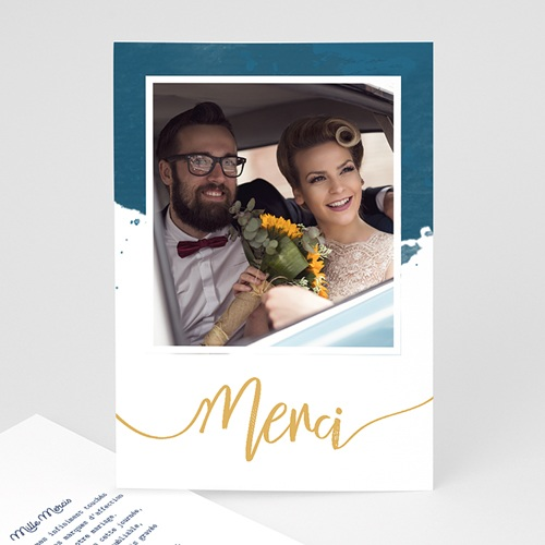 Carte Remerciement Mariage Original L'or bleu