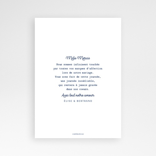 Carte Remerciement Mariage Original L'or bleu pas cher