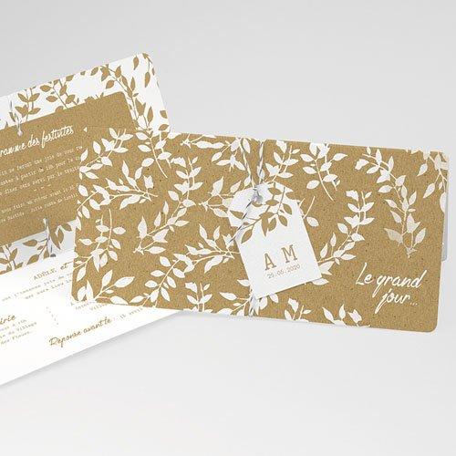 Faire-part mariage champêtre Liberty Nature White Kraft