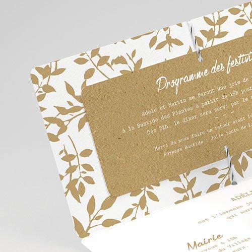 Faire-part mariage champêtre Liberty Nature White Kraft gratuit