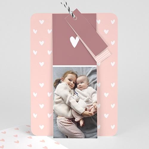 Faire-part naissance classique Trio Petits Coeurs
