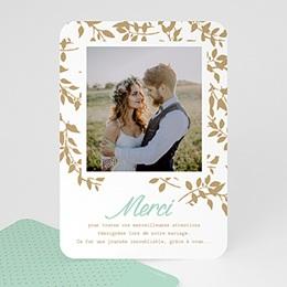 Carte remerciement mariage photo Chic et feuillage