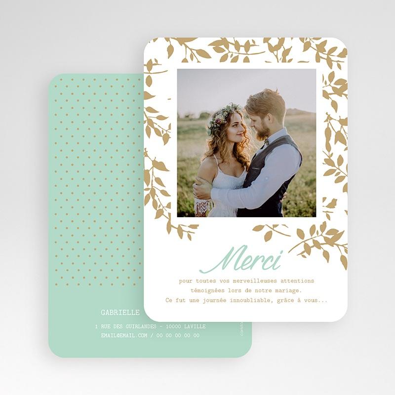 Carte Remerciement Mariage Photo Chic et feuillage gratuit