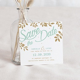 Save the date Mariage Chic, Mint & feuilles
