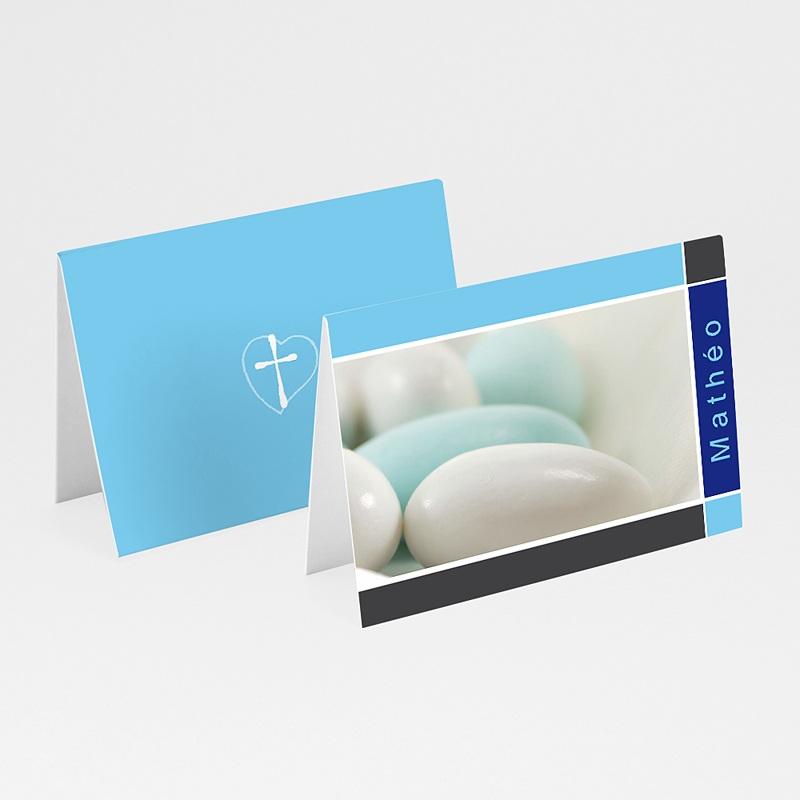 Marque place baptême Dragées  Bleues