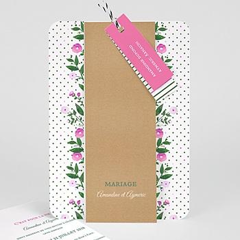 Faire-Part mariage champêtre - Fleurs romantiques - 0