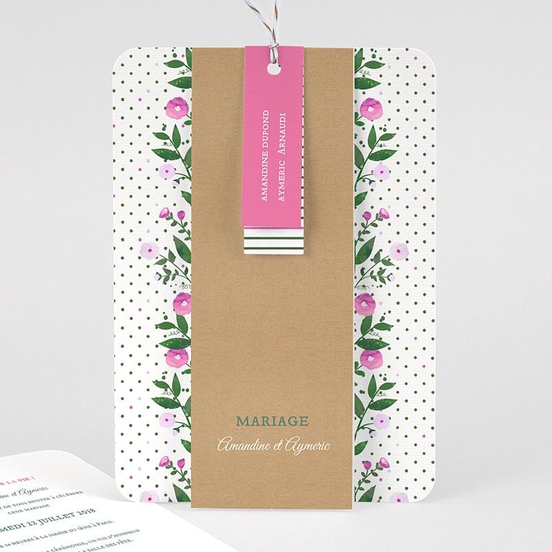 Faire-part mariage champêtre Fleurs romantiques