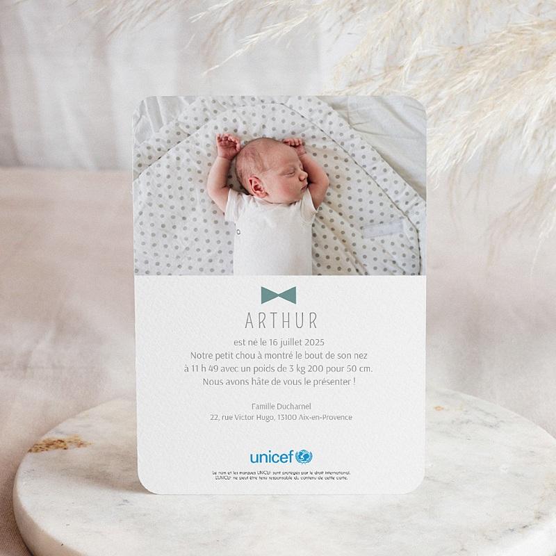 Faire-Part Naissance Garçon UNICEF - Petits Noeuds Papillon 57875 thumb