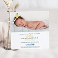 Faire-Part Naissance Fille UNICEF Couronne Fleurs pas cher