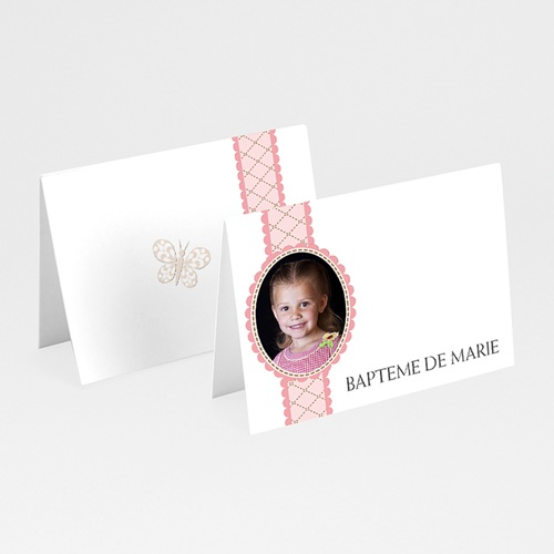 Marque Place Baptême - Mon médaillon - rose 5801