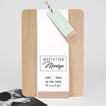 Faire Part mariage vintage - Bois & Pastel - 0