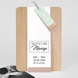 Faire-part mariage Bois & Pastel