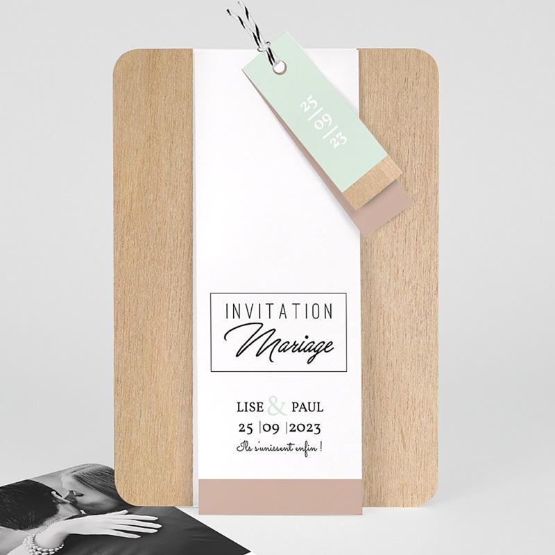 Faire Part mariage vintage - Bois & Pastel 58016 thumb