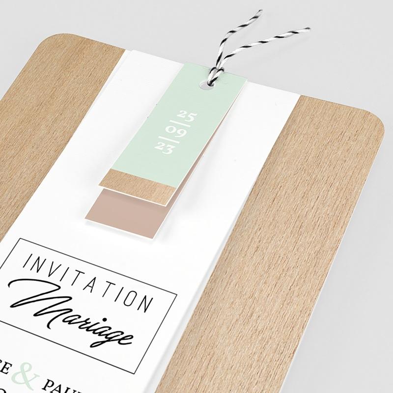 Faire Part mariage vintage - Bois & Pastel 58017 thumb
