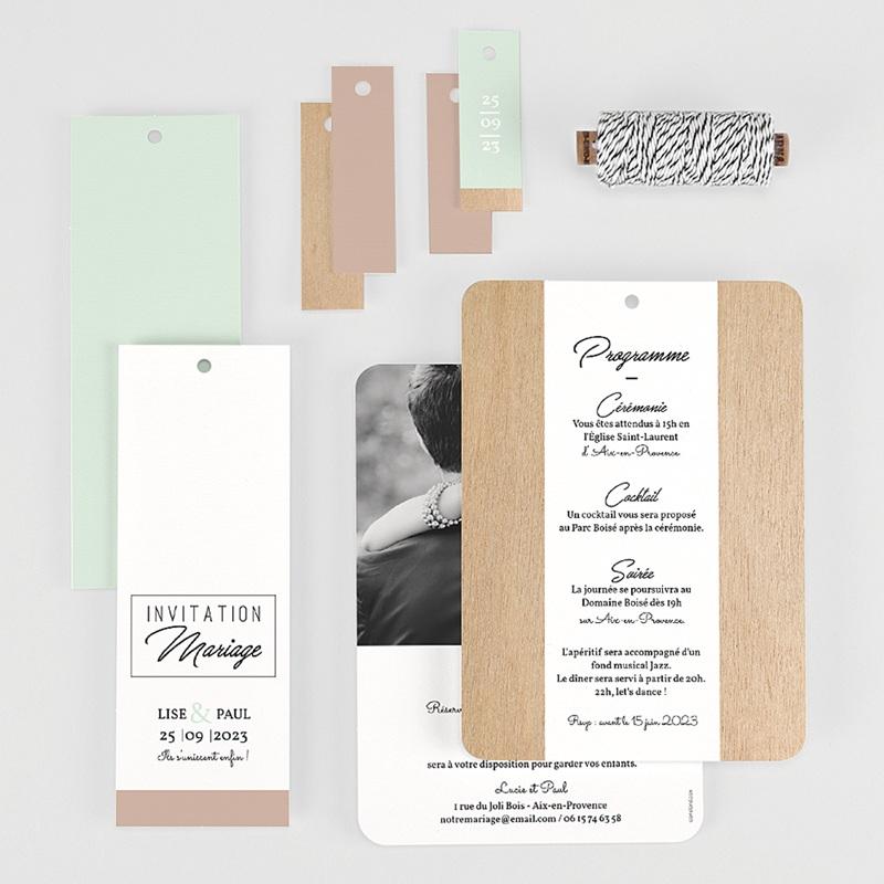 Faire-Part Mariage Bois & Pastel gratuit