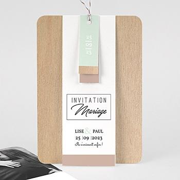 Faire Part mariage vintage - Bois & Pastel - 3