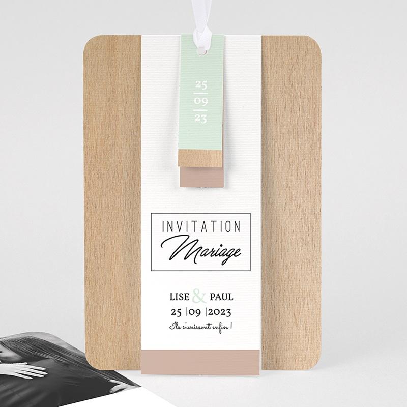 Faire Part mariage vintage - Bois & Pastel 58020 thumb