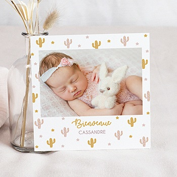Faire part de naissance fille cactusmania avec photo