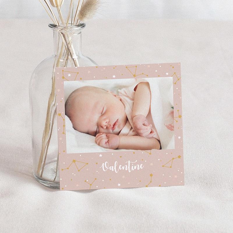 Faire-part naissance fille Mini Voûte Céleste Rose