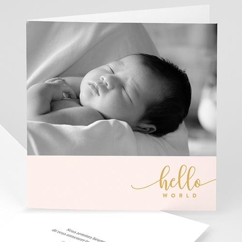 Faire-part naissance fille Hello World Rose