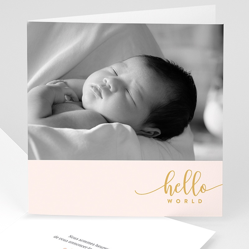 Faire-Part Naissance Fille Hello World Rose