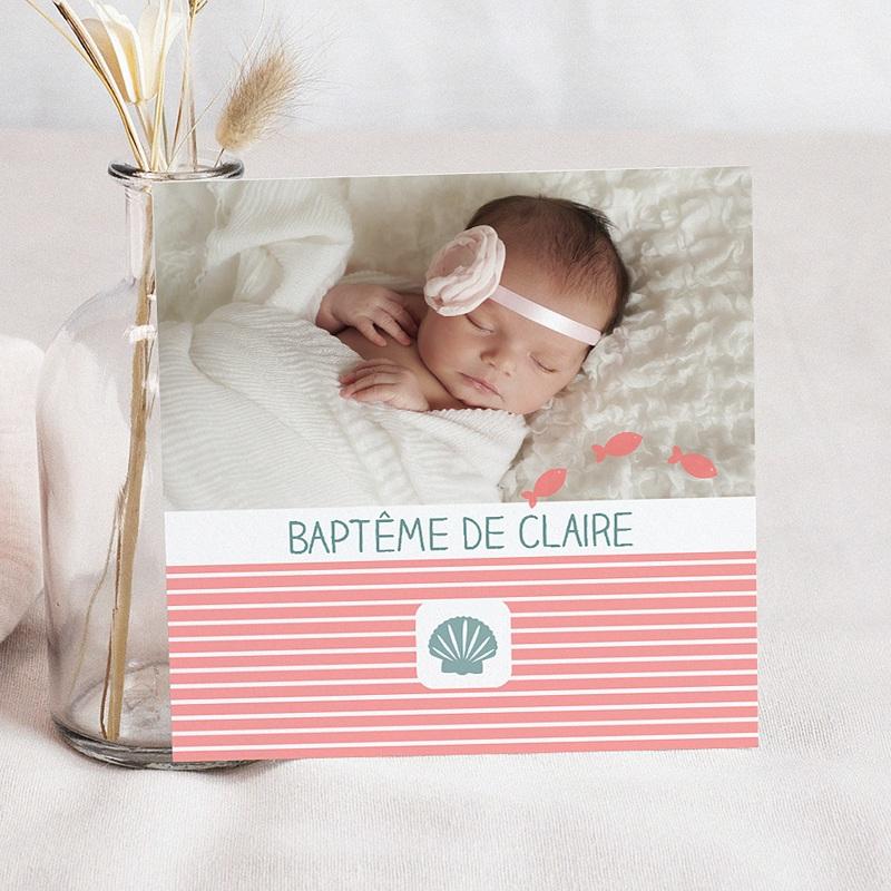Faire-Part Baptême Fille Marinière rose