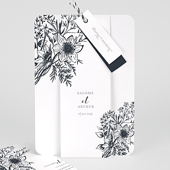 Faire Part mariage vintage - Esquisse Florale - 0