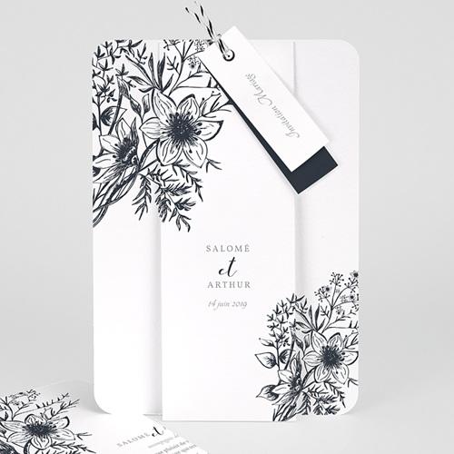 Faire-Part Mariage Esquisse Florale
